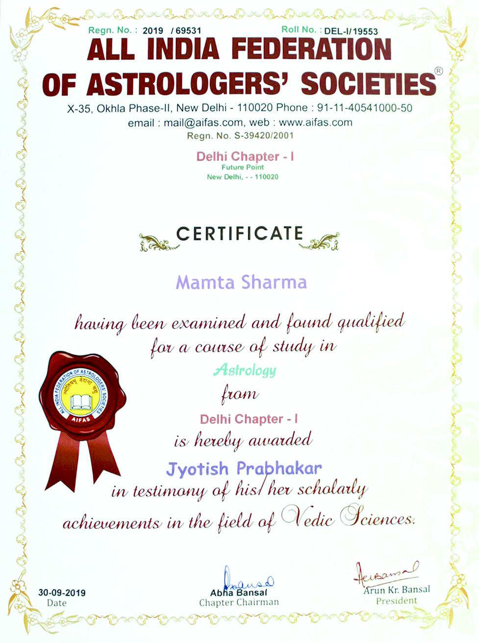 Astrology Jyotish Prabhakar Certificate Dr Mamta Sharma