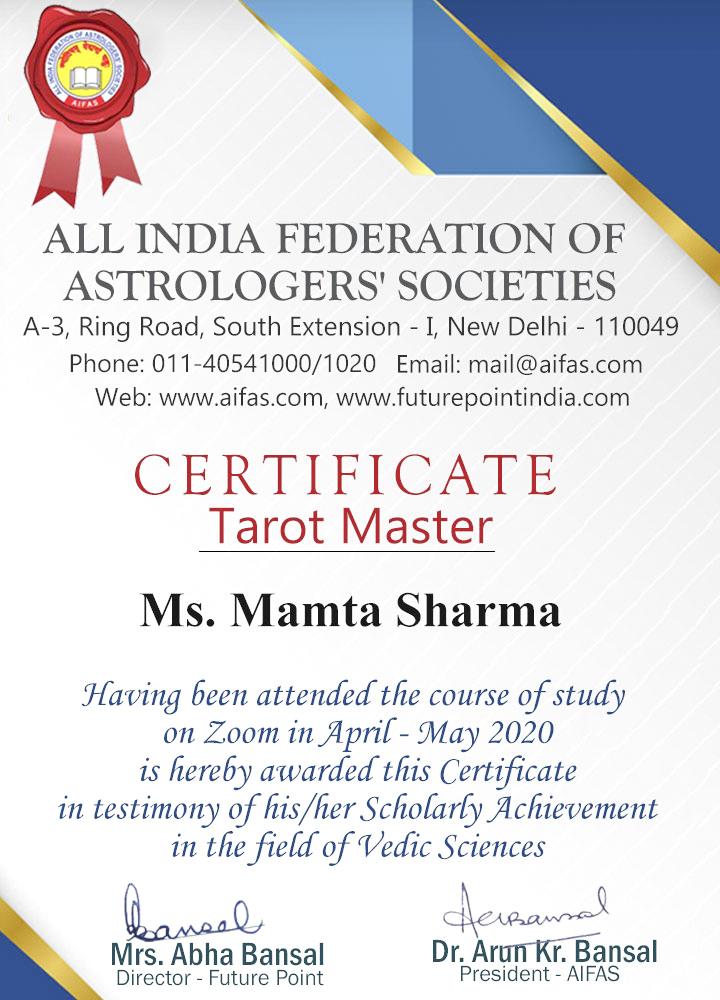 Tarot Master Certificate Dr. Mamta Sharma