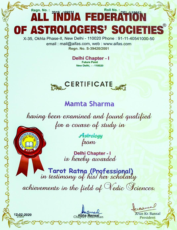Tarot Ratna Certificate Dr. Mamta Sharma