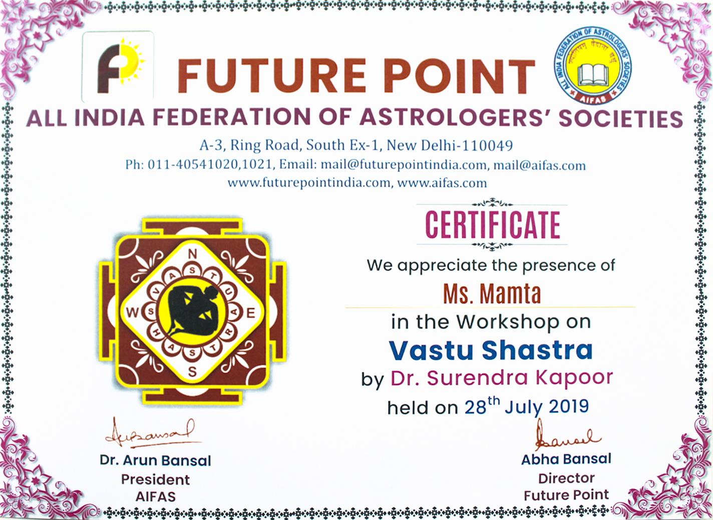 Vastu Shastra Certificate Dr. Mamta Sharma