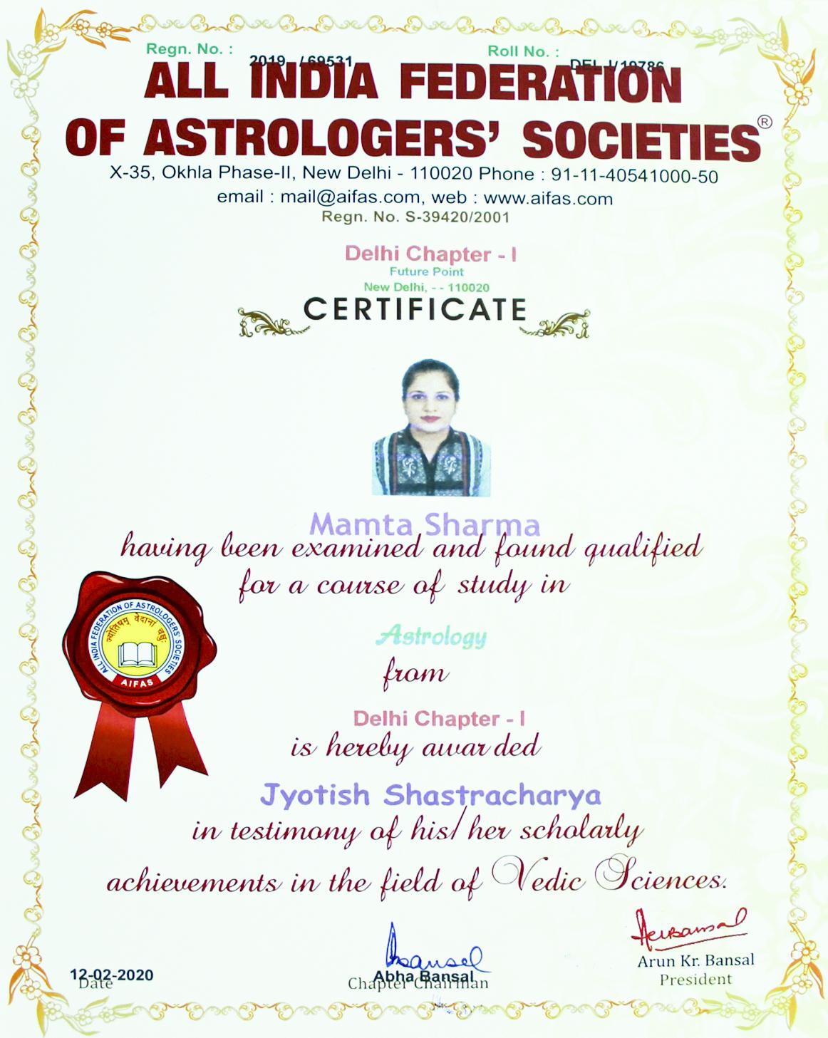 Jyotish SJyotish Shastracharya Astrology Certificate Dr. Mamta Sharma